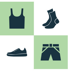 Dress icons set collection of sneakers half-hose vector