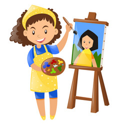 female painter painting on canvas vector image vector image