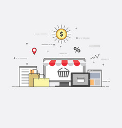 Flat design banner of e-commerce and e-shopping vector