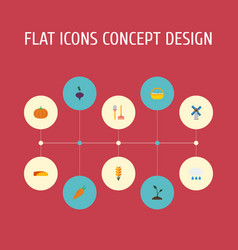Flat icons gourd windmill field and other vector