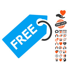 Free tag icon with love bonus vector