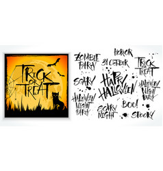 halloween lettering set with card sample vector image vector image
