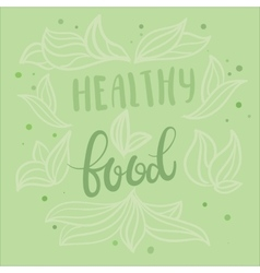 Healthy food poster design with hand vector