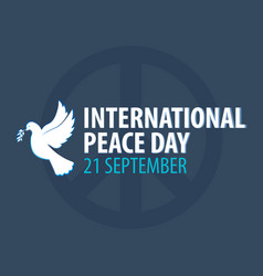 International peace day banner 21 september dove vector