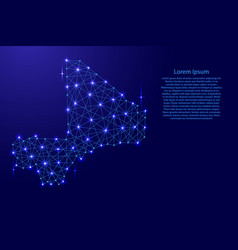 Map of mali from polygonal blue lines and glowing vector
