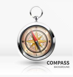 Old realistic navigation compass isolated vector