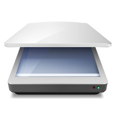 Opened office scanner on white background vector