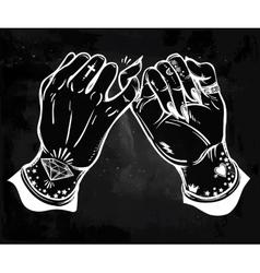 Pinky promise hand holding trendy art vector