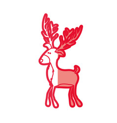 Red silhouette of funny reindeer walking vector