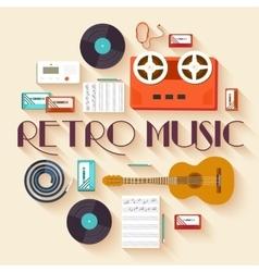 Retro equipment music set circle infographics vector