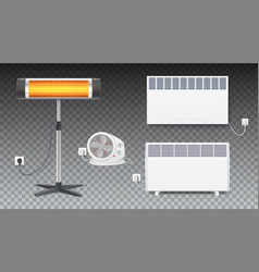 Set icons of heaters household appliances on vector