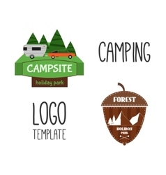 Set of adventure outdoor tourism travel logo vector