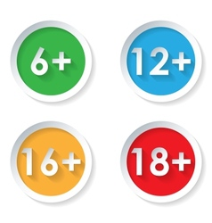 Set of age restriction flat icons vector image