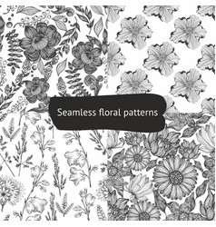 set of seamless black and white patterns with vector image vector image