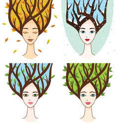 set with woman of seasons vector image vector image