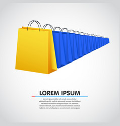 shopping bag row sale concept vector image