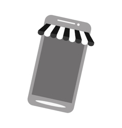 Smartphone shopping online store gray color vector