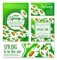 Spring flowers banner and greeting card template vector