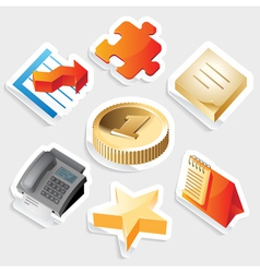 Sticker icon set for business symbols vector image vector image
