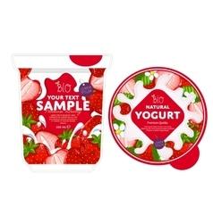 Strawberry yogurt packaging design template vector