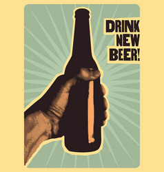 Typographic vintage style beer poster vector