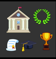 University building flat school education vector