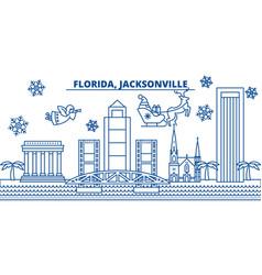 Usa florida jacksonville winter city skyline vector