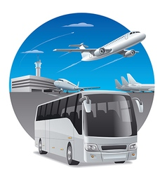 Bus in airport vector