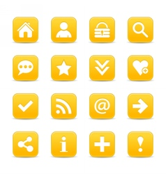 Yellow satin icon web button with white basic sign vector