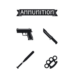 Ammunition icons set vector
