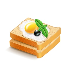 Scrambled eggs on toasts isolated vector