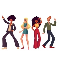 People in 1970s style clothes dancing disco vector