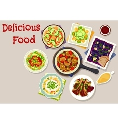 Lunch dishes with salads icon for menu design vector