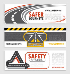 Road and traffic safety banner template set vector