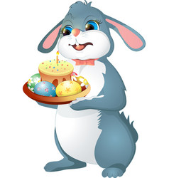 Easter rabbit holds cake vector