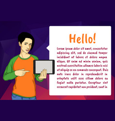 woman showing something displayed on tablet pc a vector image