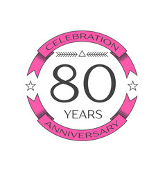 Realistic eighty years anniversary celebration vector