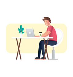 working with laptop vector image