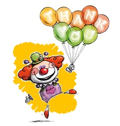 Clown with balloons saying thank you vector