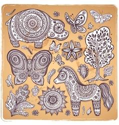 Vintage set of ethnic animals vector image