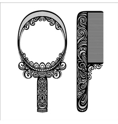 Ornate comb with mirror vector