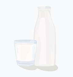 And glass milk bottle vector