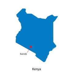 Detailed map of kenya and capital city nairobi vector