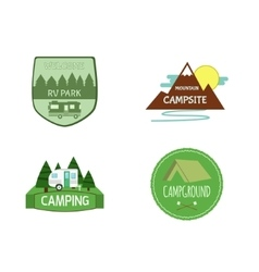 Set of adventure outdoor activity tourism travel vector