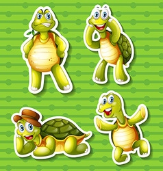 Turtle in four different poses vector