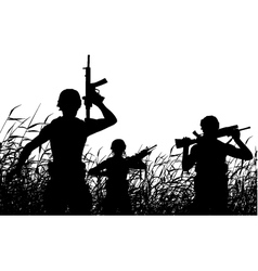 Soldier patrol silhouette vector image