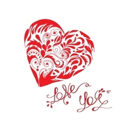 Love you lettering with hand drawn heart in vector