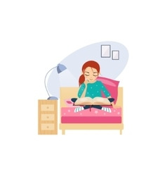 Reading daily routine activities of women vector
