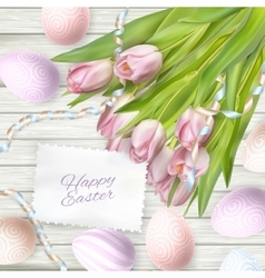 Easter eggs on wood background eps 10 vector