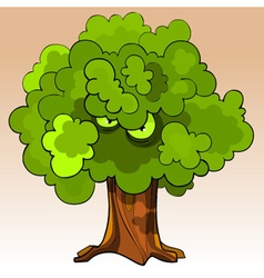cartoon menacing tree with eyes in the green vector image